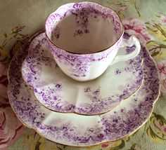 Three stunning trios. Foley China / Wileman & Co. In near perfect condition. Dated between 1890 and 1911. Over a century old!