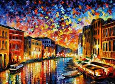 Italy Cityscape Wall Art Oil Painting On Canvas Art By Leonid Afremov Studio - Venice Grand Canal Oil Painting On Canvas, Canvas Art, Large Canvas, Diy Painting, Painting Clouds, Forest Painting, Moon Painting, Online Painting, Canvas Size
