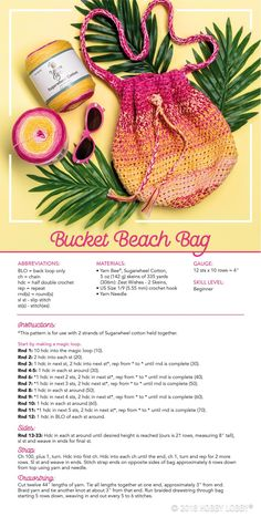 Diy Crafts : Illustration Description DIY a go-to beach bag with stylish Sugarwheel cotton yarn! -Read More – Cotton Crochet Patterns, Crochet With Cotton Yarn, Knit Or Crochet, Double Crochet, Crochet Hooks, Crochet Blankets, Yarn Projects, Crochet Projects, Sewing Projects