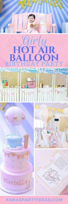 Girly Hot Air Balloon Birthday Party via Kara's Party Ideas - KarasPartyIdeas.com