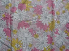 VINTAGE CANNON MONTICELLO RETRO 70's PINK DAISY FLOWERS FLORAL FULL FLAT SHEET  #Cannon #TRADITIONAL