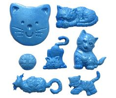 Cat Set Silicone Mould By First Impressions, FotoFondant.nl
