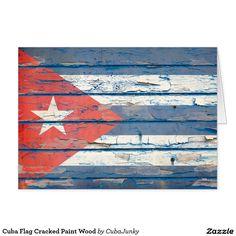 Cuba Flag Cracked Paint Wood Card @zazzle #junkydotcom July 6 2016