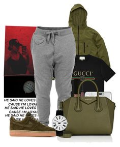 """""""G U C C I """" by melaninaire ❤ liked on Polyvore featuring Gucci, Diesel, NYX, Givenchy, NIKE and Rosendahl"""