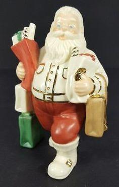 Lenox Santa Claus Figurine Shopping Gold White Red Christmas Porcelain Xmas Gift