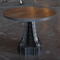 Stone, Concrete, Cherry, Mahogany, Walnut, Steel and Worn Oak top are options for the top material. Available in a single pedestal base, or two or three depending on top size. Weight is around 300-400 lbs per base depending on size. Table weight varies from 400lbs on up. Bases disassemble from top for transporting. Some assembly required (20-45 min). Call for custom sizes (30% upcharge applies)