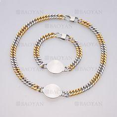 juego collar y brazalete de dorado mezcla plateado especial con ronda en acero inoxidable -SSNEG504011