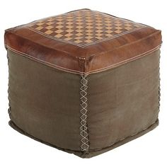 Signature Design by Ashley Patchwork Pouf - Brown