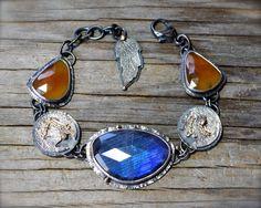 RESERVED (deposit) - Blue labradorite bracelet with orange sapphire in sterling silver with 14K gold. Rustic rose cut labradorite bracelet.