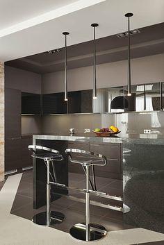Квартира «», кухня. Фото № 10528, автор Брагина Оксана Kitchen Bar Counter, Modern Kitchen Cabinets, Kitchen Design, Kitchen Decor, Black Kitchens, House Colors, Interior Inspiration, Home Furnishings, Sweet Home