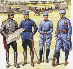 World War I French Uniform. The French uniform was characterized by a light blue color, pants similar to the American uniform with skinny legs and baggy hips. The jacket featured a long tail, round buttons down the front, and a colored jacket.