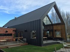 AnoMax Ultra Matt Grey Black Premium Pre-Coated Aluminium by Ambro Metals Modern Barn House, Modern House Design, Metal Building Homes, Building A House, Building Ideas, Roof Cladding, Shed Homes, Metal Buildings, House Extensions