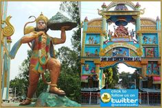 Tallest statue of Lord Bajrang Bali lifting Sanjeevani Dronachal Parvat is located at Shri Shri Ganesh Mandir; Tezpur city belongs to Sonitpur district in the Indian state of Assam. Lord hanuman statue is situated adjacent to big entrance gate of the temple. The temple is popular as Ganesh Ghat Temple situated near Ganesh Ghat on the banks of River Brahmaputra. This place is famous for its scenic lookout of the sunset. Tezpur is situated on the north bank of River Brahmaputra.