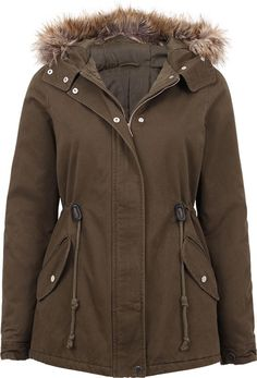 Women's Fur Trim Hooded Anorak  Made from polyester and fur trim.