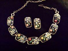 Vtg-1950s-Rare-Enamel-Necklace-Earrings-Set-Designer-Alice-Co-3D-Floral-Summer