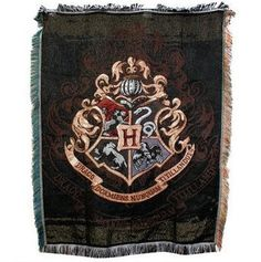 Harry Potter Movie Memorabilia: Hogwarts Crest Tapestry Throw