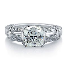 Sterling Silver Cushion Cubic Zirconia CZ Solitaire Ring 1.99 ct.tw