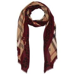 Burberry Blood red haymarket giraffe print cashmere blend scarf ($455) ❤ liked on Polyvore featuring accessories, scarves, burberry, red shawl, red scarves, lightweight scarves and giraffe print scarves