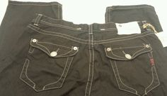 Mens MEK Denim 42 x 34 black Boston straight leg button fly blue jeans #MEK #BootCut