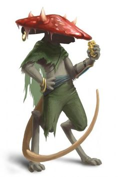 Mouse nomad with a mushroom hat, Redwall style fantasy inspiration