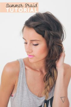 Thick Summer Braid, gray tank, and tiny tat!