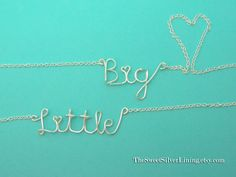 Sorority Set of Two Big and Little Sister Wire Necklaces by daintymarket on Etsy https://www.etsy.com/listing/151511371/sorority-set-of-two-big-and-little