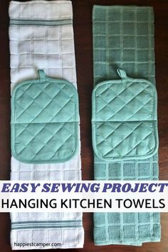 I love my Hanging Kitchen Towels! Looking for a fun yet simple sewing project that is practical for your home? Learn how to make these hanging kitchen towels with potholders and you'll have a constant companion while you cook up culinary wonders! Hanging Kitchen Towels Easy Sewing Project! This sewing project is so easy you can finish it in a matter of minutes.