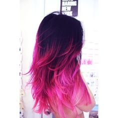 Hot Pink Ombre Dip Dye Hair Chalk ❤ liked on Polyvore featuring beauty products, haircare, hair color, hair, hair styles and beauty