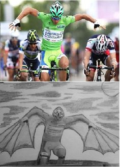 Peter Sagan,with his funny finishes inspired my to draw this