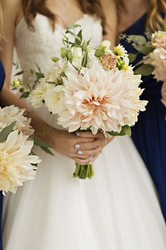 Bouquet Peach Pink White Flowers Dahlia Bride Blue Nails Elegant Classic Outdoor Wedding Washington http://www.courtneybowlden.com/