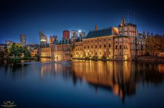 """Reflections Of The Hague II - This is the front view of the dutch parliament buildings and """"The Hofvijver""""."""