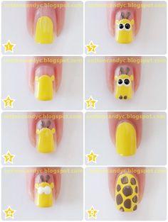 Cute Nail Tutorials for Your New Manicure Cute Giraffe Nail Art Nail Art Pastel, Nail Art Diy, Easy Nail Art, Cool Nail Art, Diy Nails, Cute Nails, Nail Nail, Giraffe Nails, Nail Desighns