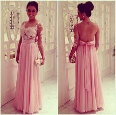 Vestido longo com renda e transparencia - cor de rosa