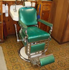 Turquoise barber chair