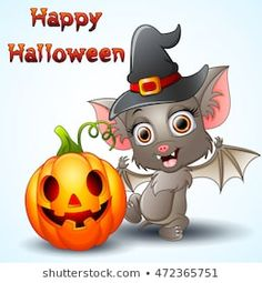 Imagens, fotos stock e vetores similares de Greeting Halloween Card Cute Cartoon Bat with pumpkin - 1194470692 Halloween Clipart, Halloween Cards, Halloween Diy, Happy Halloween, Cartoon Bat, Cute Cartoon, Cartoon Characters, Pumpkin Images, Charlie Brown And Snoopy
