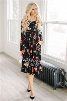 BLACK & TANGERINE FLORAL POCKET DRESS