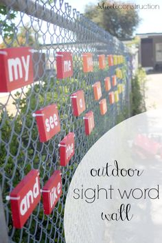 Sight Word Wall, Outdoor Sight Word Wall, Outdoor Sight Word Wall, Such a fun, outdoor game to learn the alphabet! More Back to School Activities by Outdoor Learning Spaces, Outdoor Play Areas, Outdoor Education, Sight Word Wall, Sight Word Games, Sight Words, Indoor Activities For Kids, Outdoor Activities, Outdoor Games