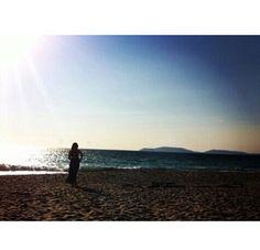 Retrato de mi en una playa de Mera (Galicia).
