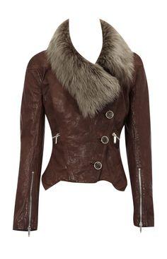 Karen Millen leather fur trim jacket