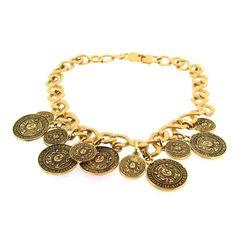 Pierre Balmain Gold Coin Necklace 1995