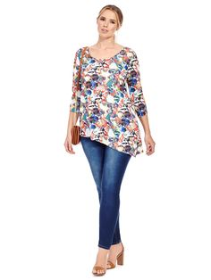 Collage Printed Long Sleeve Asymmetric Tunic by  Isabel + Alice  Available in sizes L-XL and 1X-5X