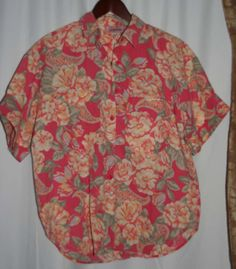 Jaclyn Smith Blouse / Top Short Sleeves Pink & Peach Size M