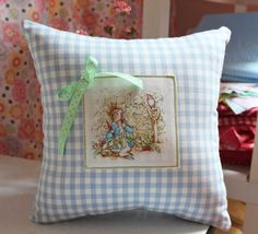 Peter Rabbit Pillow Beatrix Potter Blue by ScarlettsCozyCottage