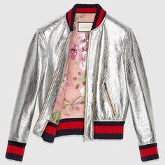 Resort 2016 Gucci Crackle Leather Bomber Jacket
