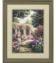 Add a new dimension to your home decor with the Ek Success Dimensions Gold Collection Floral Retreat Counted Cross Stitch Kit 11 x The beautiful image of a spring scenery, complete with the freshe Counted Cross Stitch Patterns, Cross Stitch Designs, Cross Stitch Embroidery, Hand Embroidery, Spring Scenery, Dimensions Cross Stitch, Butterfly Cross Stitch, Needlepoint Patterns, Joanns Fabric And Crafts