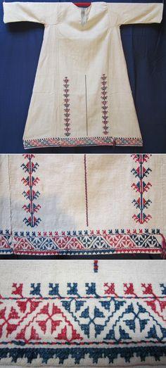 (Cotton on cotton) embroidered front of a 'göynek' (underdress for women). Marmara region, mid-20th century. Ethnic group: Türkmen. (Inv.nr. gnk001 - Kavak Folklor Ekibi & Costume Collection-Antwerpen/Belgium).