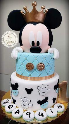 Baby Mickey Cake, Bolo Mickey, Mickey Mouse Baby Shower, Mickey Cakes, Mickey Mouse Cake, Birthday Cake Roses, Beautiful Birthday Cakes, 1st Anniversary Cake, Pastel Mickey