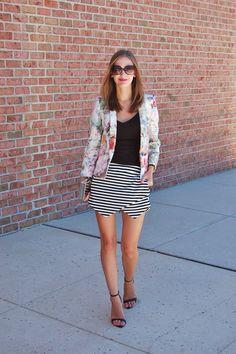 Half and Half // Striped Skort, Floral blazer #patternmixing #skort #stripedskort