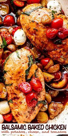 Baked Balsamic Chicken, Baked Chicken Recipes, Chicken Recipes With Tomatoes, Chicken Potato Bake, Chicken Potatoes, Cooking Recipes, Healthy Recipes, Weeknight Recipes, Keto Recipes