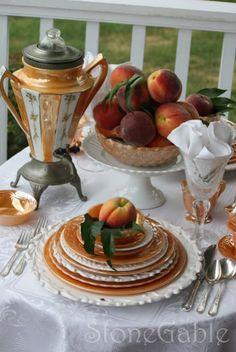Peach Tablescape - Fire King peach lustre wareand creamy white accents